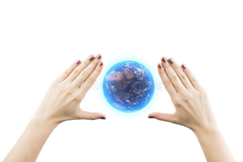 拿着3D地球的翻译的妇女手 库存照片