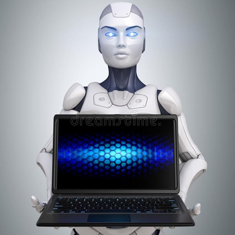拿着anm被打开的膝上型计算机的机器人 皇族释放例证