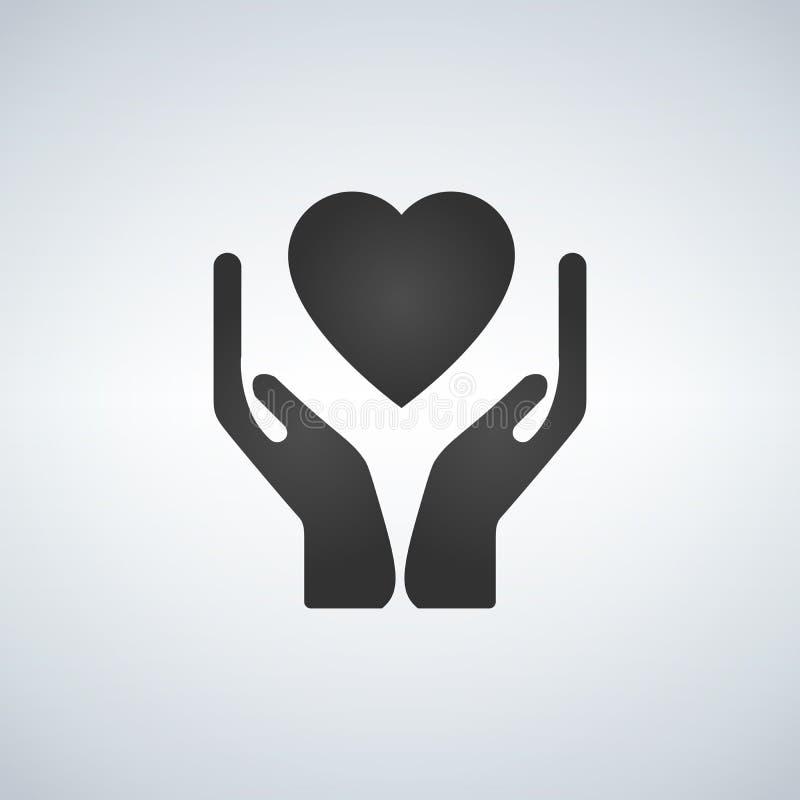 拿着apps和网站的手心脏平的象 库存例证