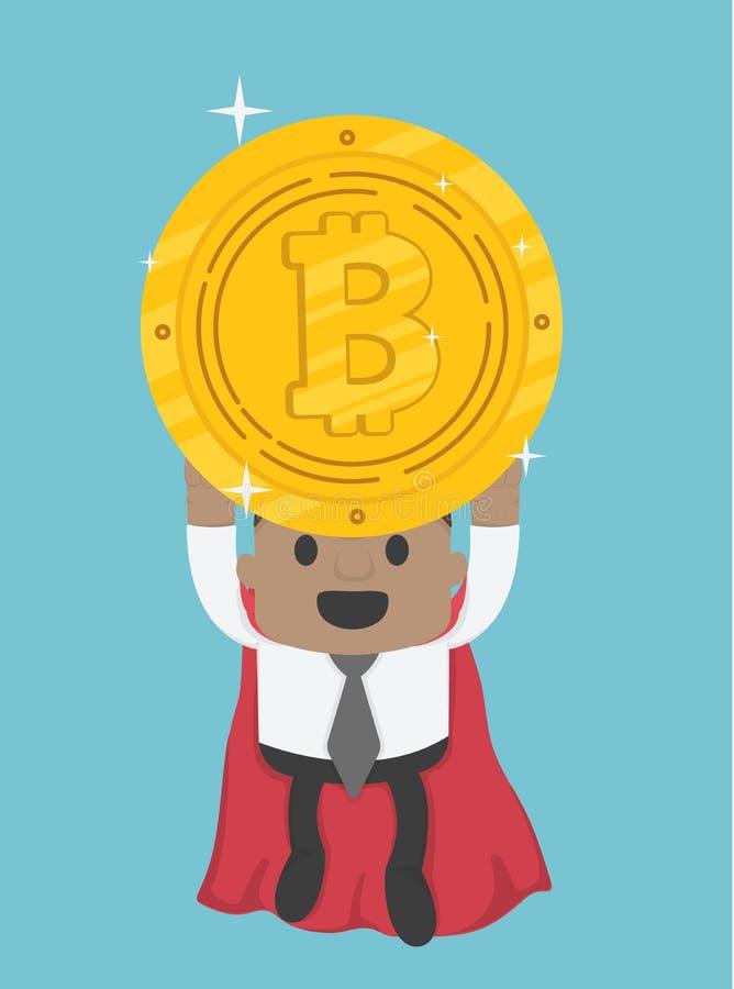 拿着bitcoin的飞行的特级英雄非洲商人 皇族释放例证