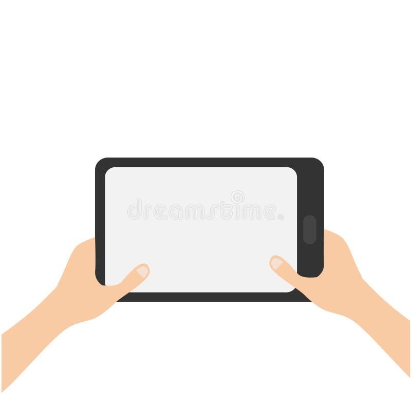 拿着genering的片剂个人计算机小配件的两只手 男女青少年的手和黑选项与黑屏 文本的空的空间模板 向量例证