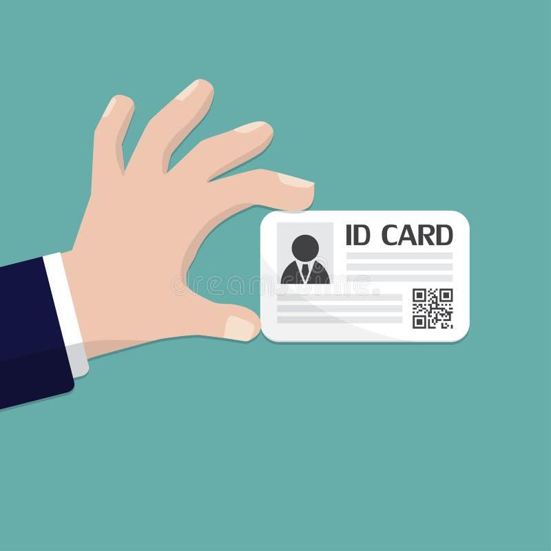 拿着id卡片的手 传染媒介例证平的设计 向量例证