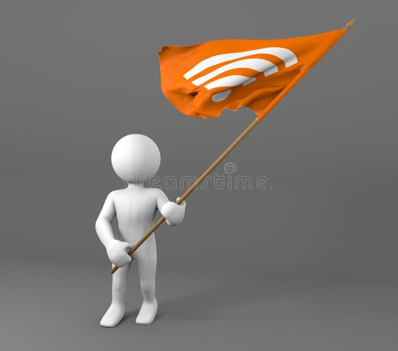 拿着WIFI标志旗子的字符 向量例证