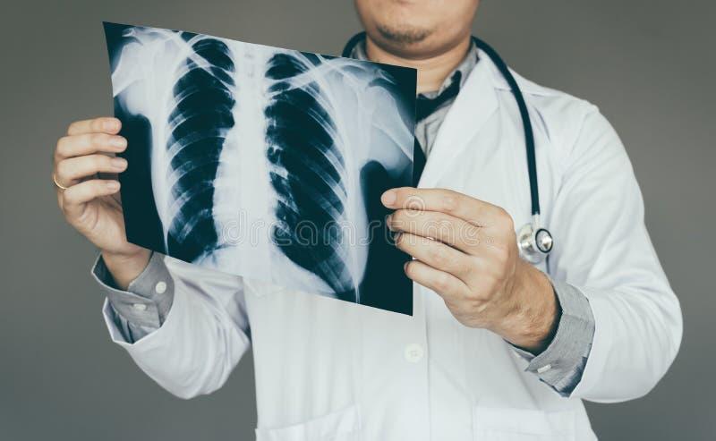 拿着X光片的确信的医生人在实验室屋子里 库存照片
