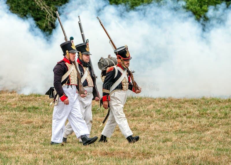 拿破仑似的时代法国人步兵 免版税库存照片
