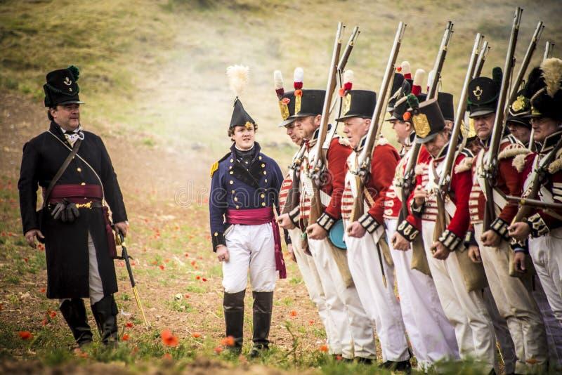 拿破仑战争的历史再制定,在布尔戈斯,西班牙, 2016年6月12日 库存图片