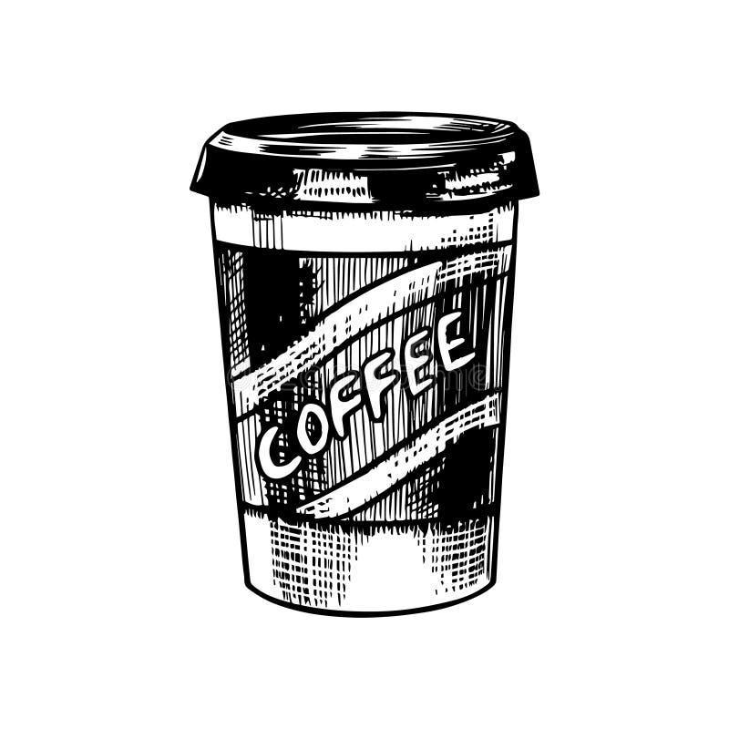 拿走咖啡在葡萄酒样式的 在玻璃的热奶咖啡 手拉的被刻记的减速火箭的剪影 商标的模板或 皇族释放例证