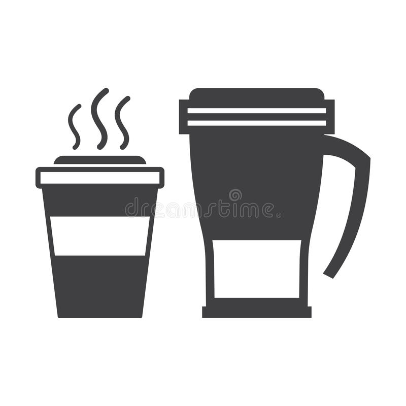 拿走咖啡杯和旅行杯子 皇族释放例证