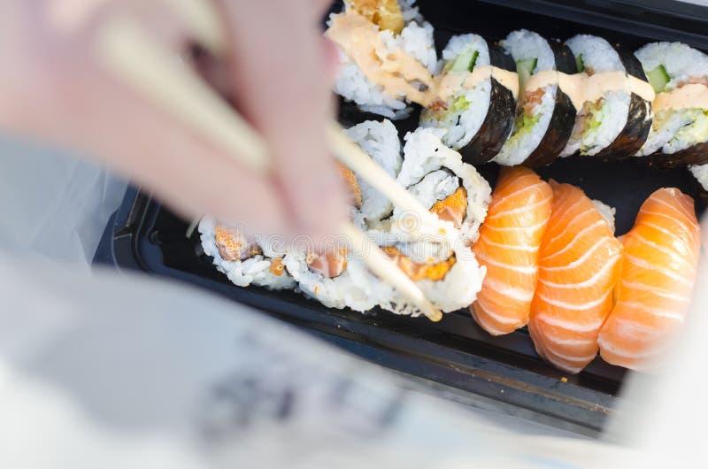 拿走寿司袋子 免版税库存照片
