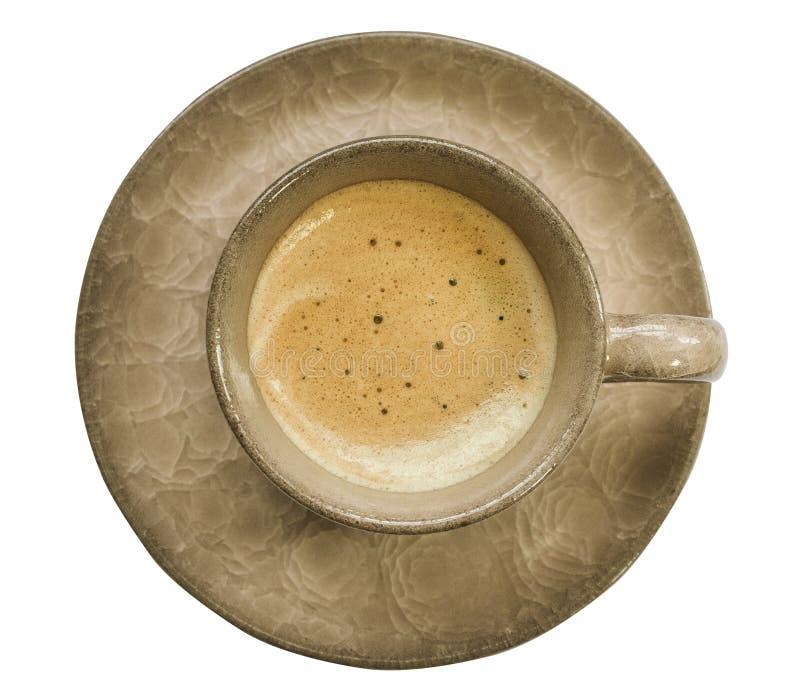 拿铁或热奶咖啡有板材的咖啡杯在白色背景 免版税库存照片