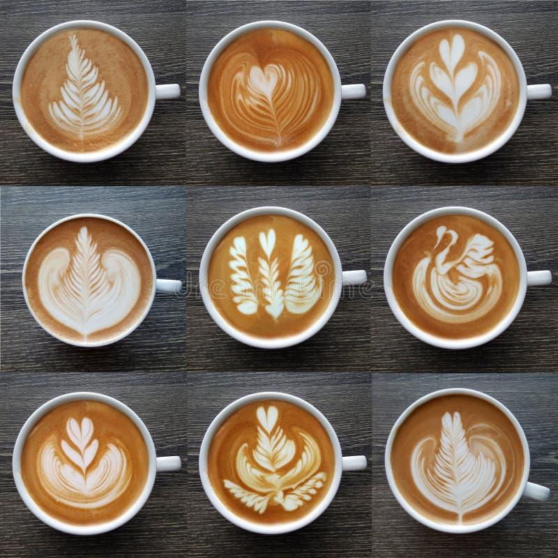 拿铁艺术咖啡杯顶视图的汇集  免版税库存照片