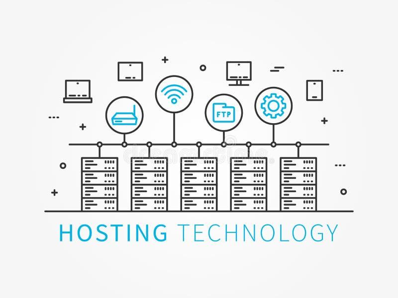 主持与服务器系统的数据基础设施 库存例证