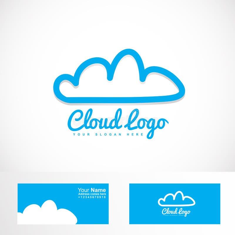 主持商标的蓝色云彩 向量例证