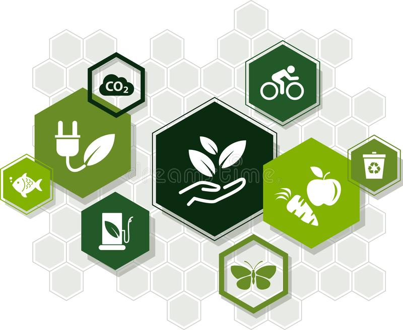 持续力象概念:生态,绿色能量,回收,环保–传染媒介例证 皇族释放例证