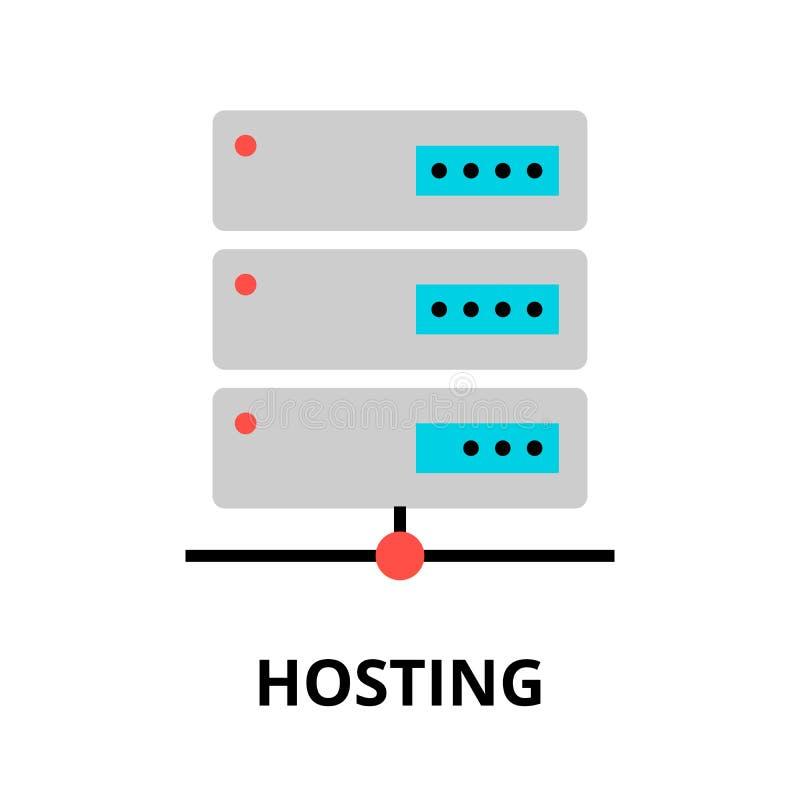 主持象的概念,图表和网络设计的 库存例证