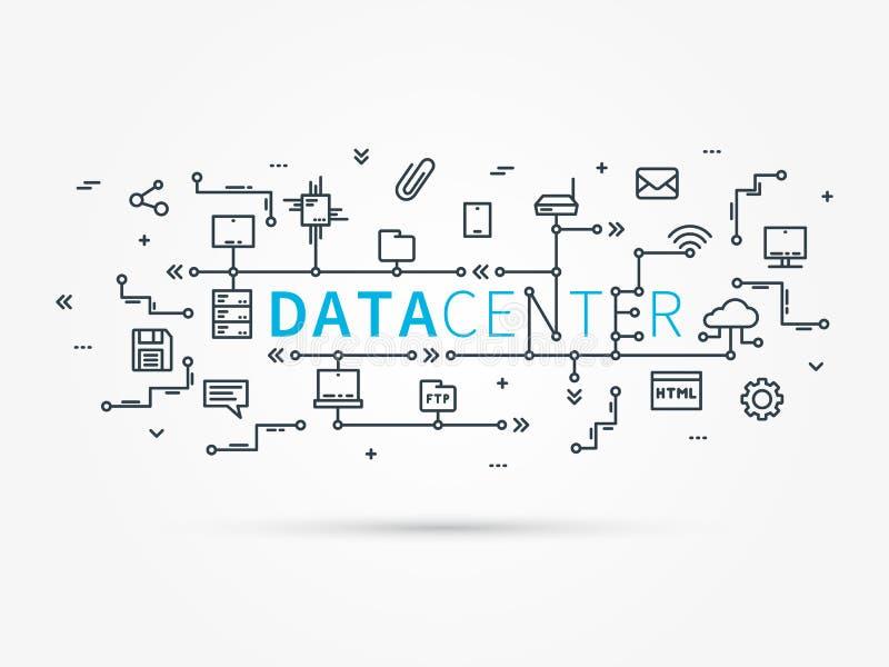 主持连接用服务器系统的基础设施 库存例证