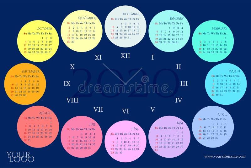 挂历2020年以一个拨号盘的形式与彩虹月,星期,罗马数字 向量例证