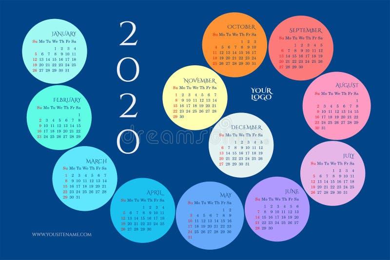 挂历2020年以螺旋的形式 库存例证
