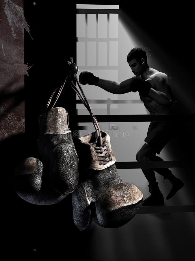 挂掉电话的拳击手套 库存例证