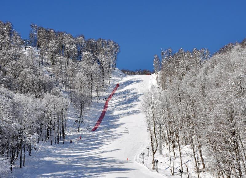挂接手段滑雪滑雪跟踪 库存图片