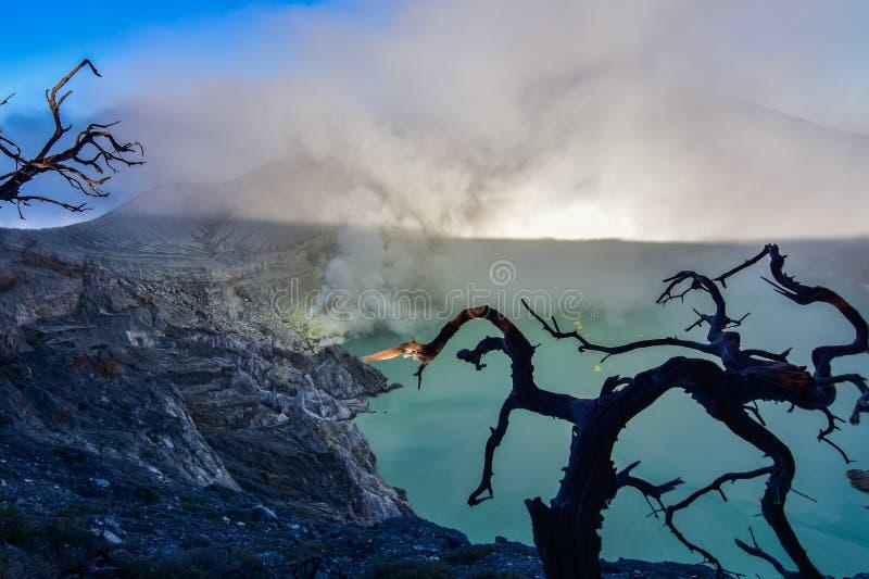 挂接 伊真火山观点早晨 免版税库存照片