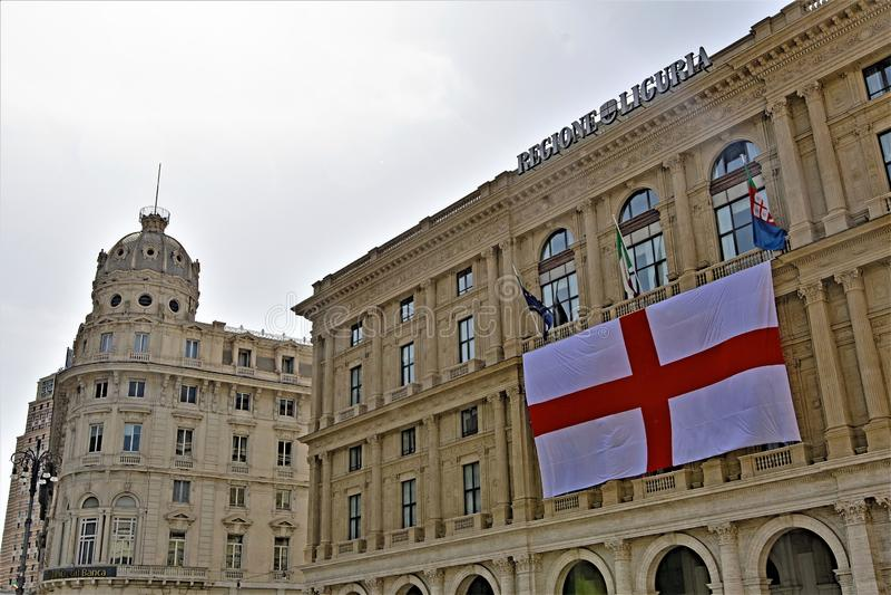 挂热那亚旗子,Regione利古里亚,意大利 免版税图库摄影
