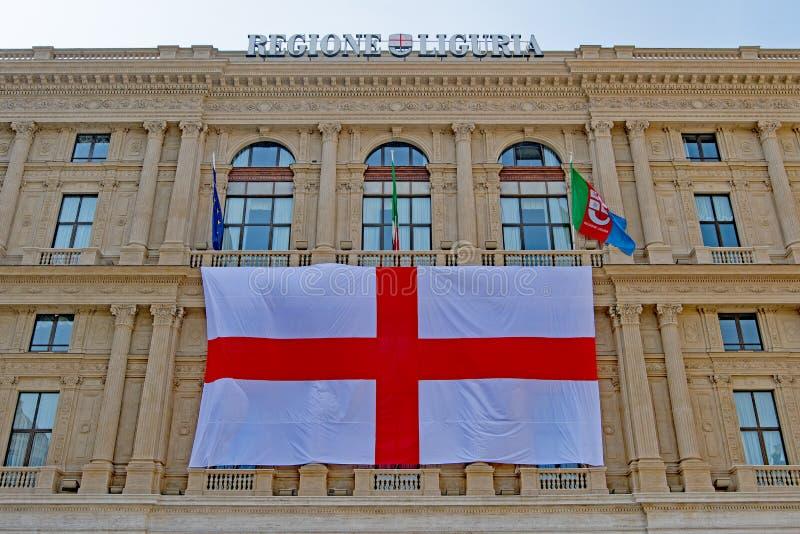 挂热那亚旗子1,Regione利古里亚,意大利 库存图片