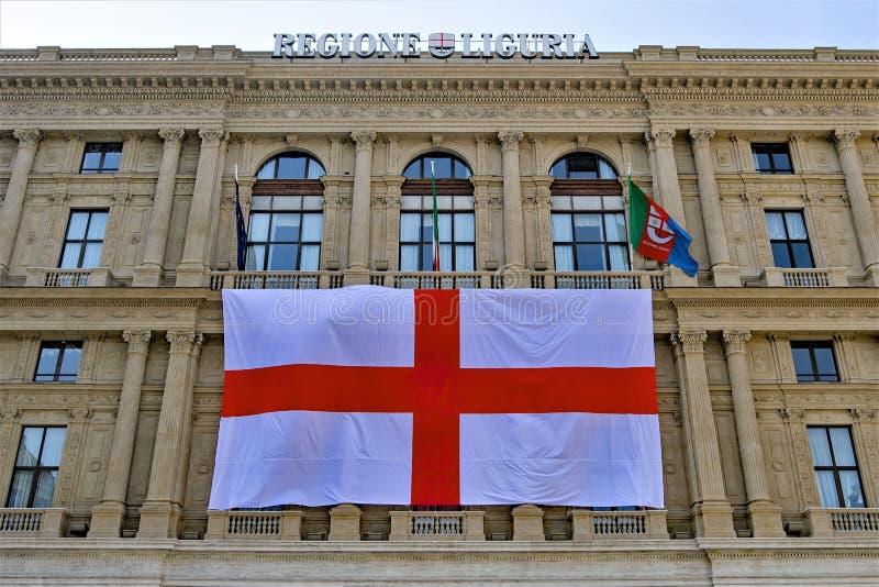 挂热那亚旗子2,Regione利古里亚,意大利 免版税库存图片