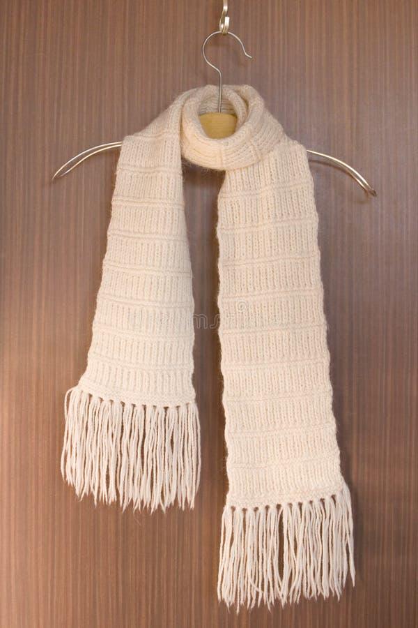 挂衣架被编织的围巾 免版税库存图片