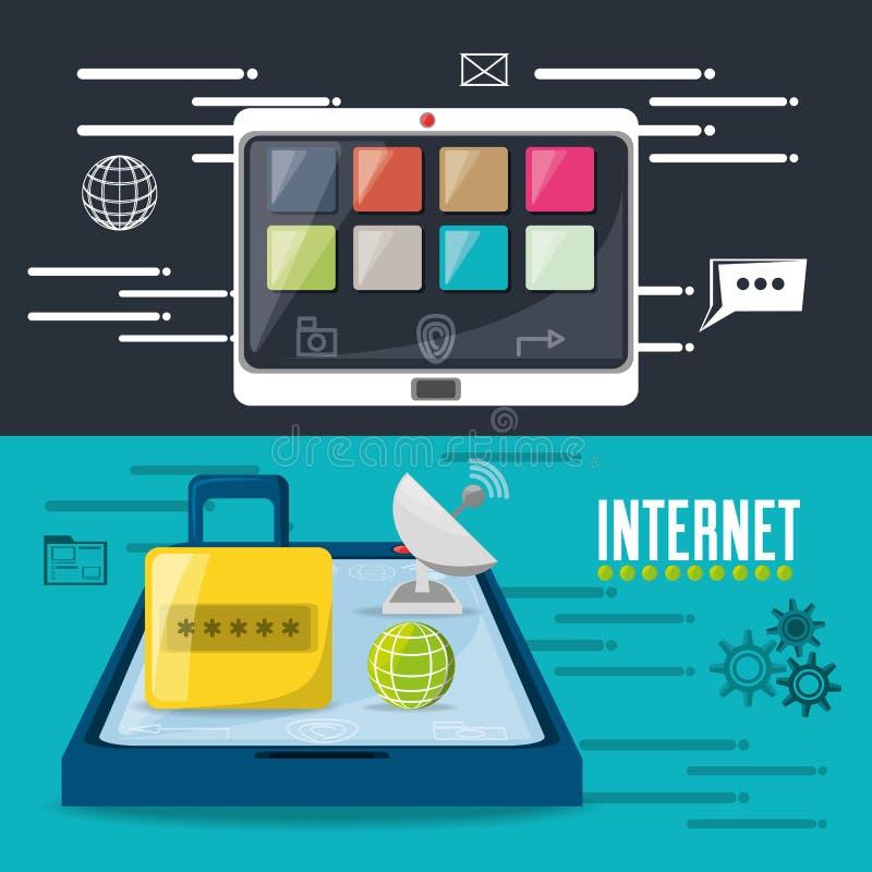 挂锁、卫星、世界和智能手机连接了互联网 皇族释放例证