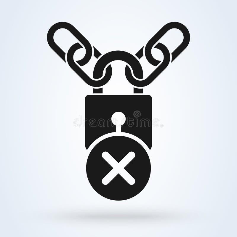 挂锁和金属链子和保护的发怒标志x象概念 r 库存例证
