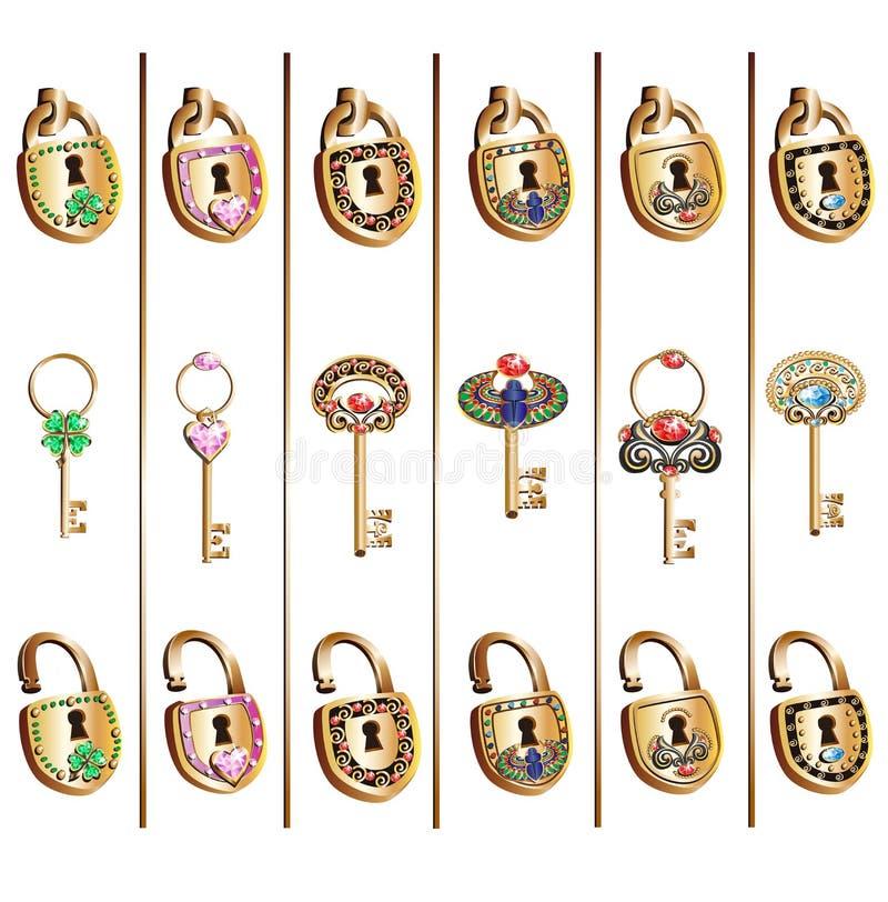 挂锁和钥匙套传染媒介 库存例证