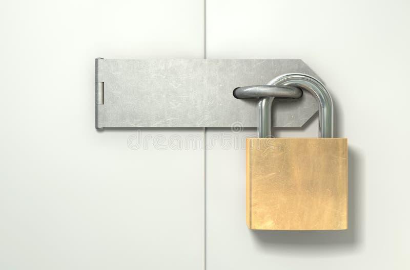 挂锁和门窗等之搭扣锁着的前面 免版税图库摄影