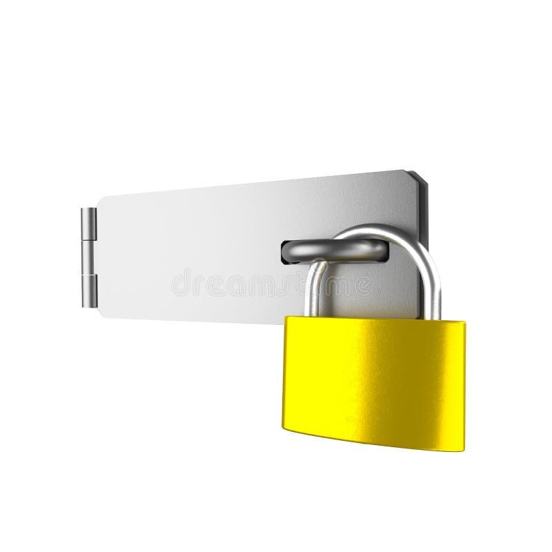 挂锁和门闩在白色 皇族释放例证