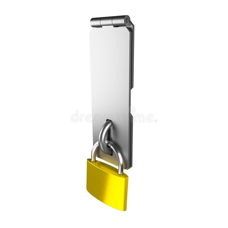 挂锁和门闩在白色 库存例证