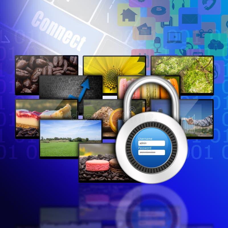 挂锁在互联网浓缩的生产技术的用户名密码 向量例证