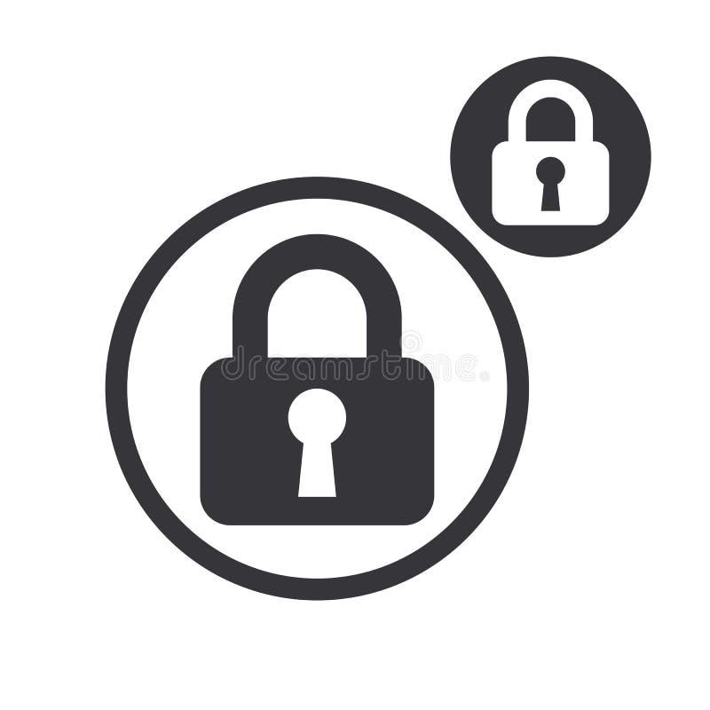 挂锁在白色b隔绝的锁传染媒介简单的唯一颜色象 库存例证