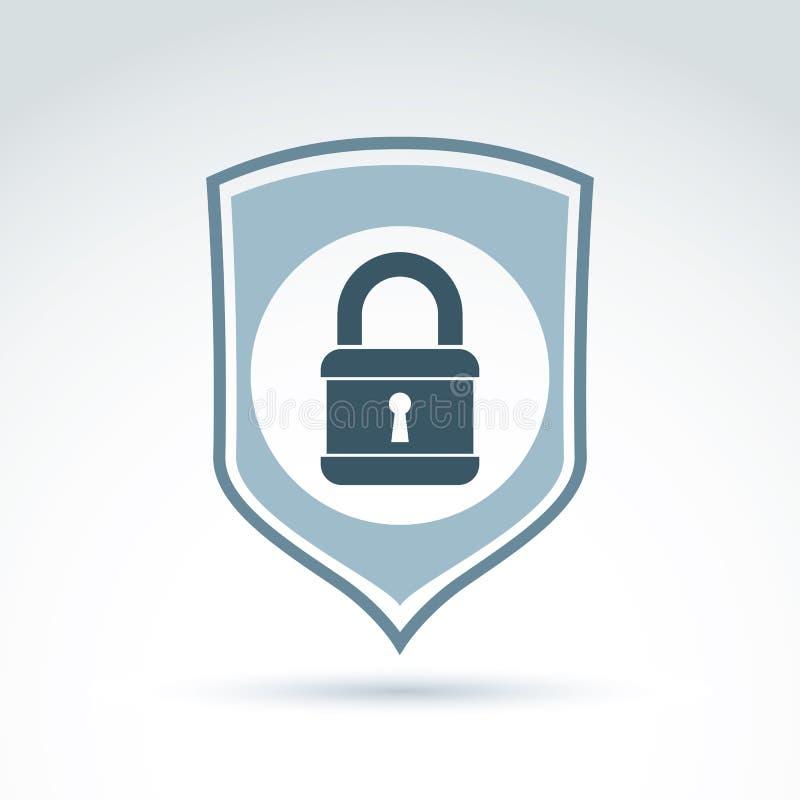 挂锁在盾概念性安全题材象的锁,传染媒介 向量例证