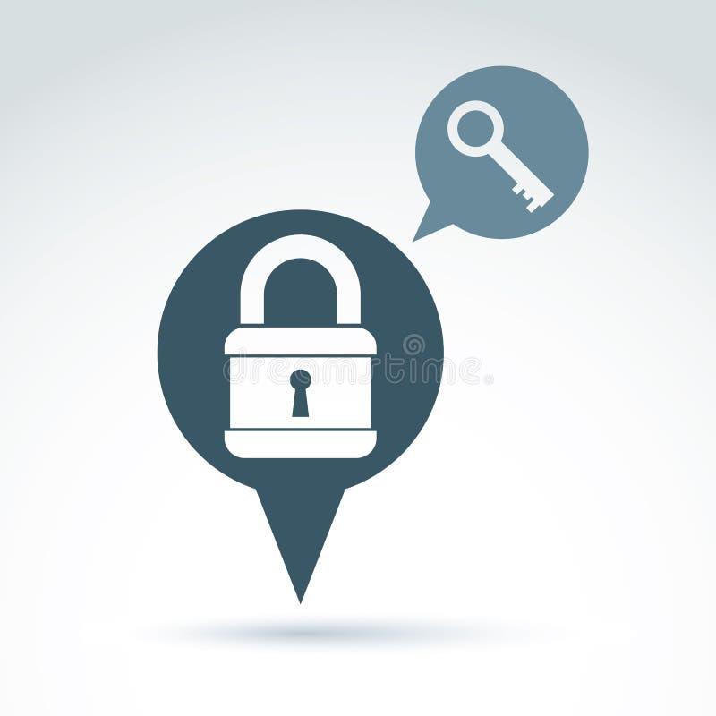 挂锁在盾概念性安全题材象的锁,传染媒介 库存例证