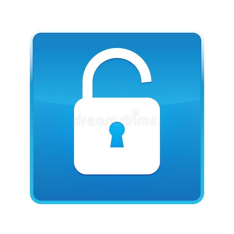 挂锁开放象发光的蓝色方形的按钮 皇族释放例证