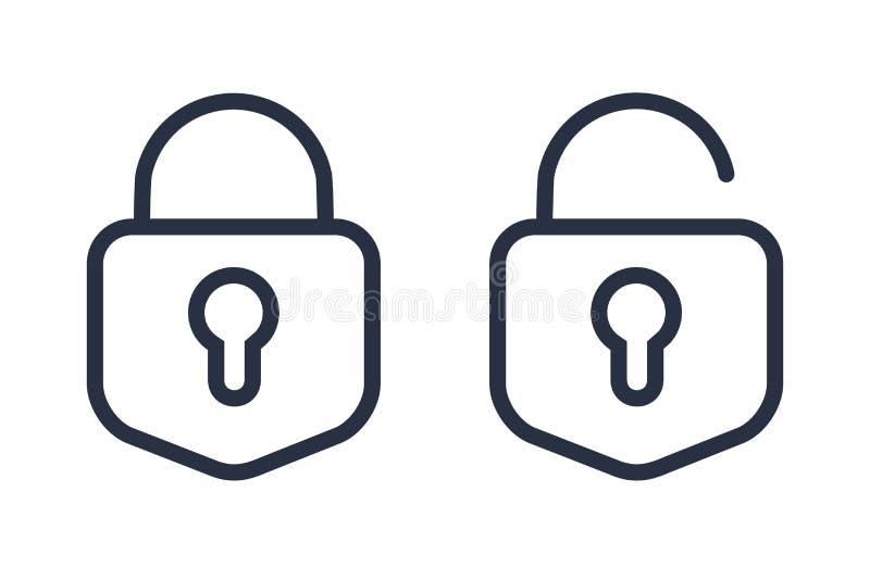 挂锁象传染媒介例证 衣物柜象,传染媒介挂锁标志 关键锁例证保密性和密码象 库存例证