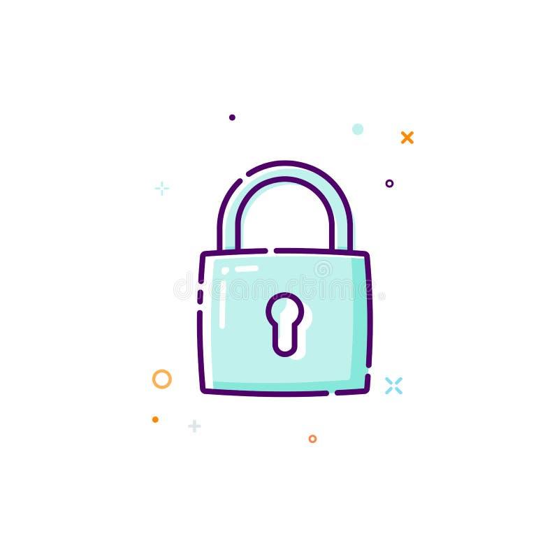 挂锁象 稀薄的线平的设计象概念 个人信息的保护 也corel凹道例证向量 向量例证