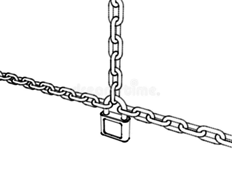 挂锁连接的链子 背景查出的白色 剪影我 库存例证