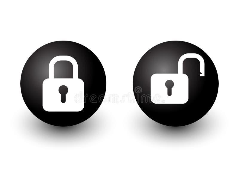 挂锁锁着和开锁的锁传染媒介网圈子按钮象b 向量例证