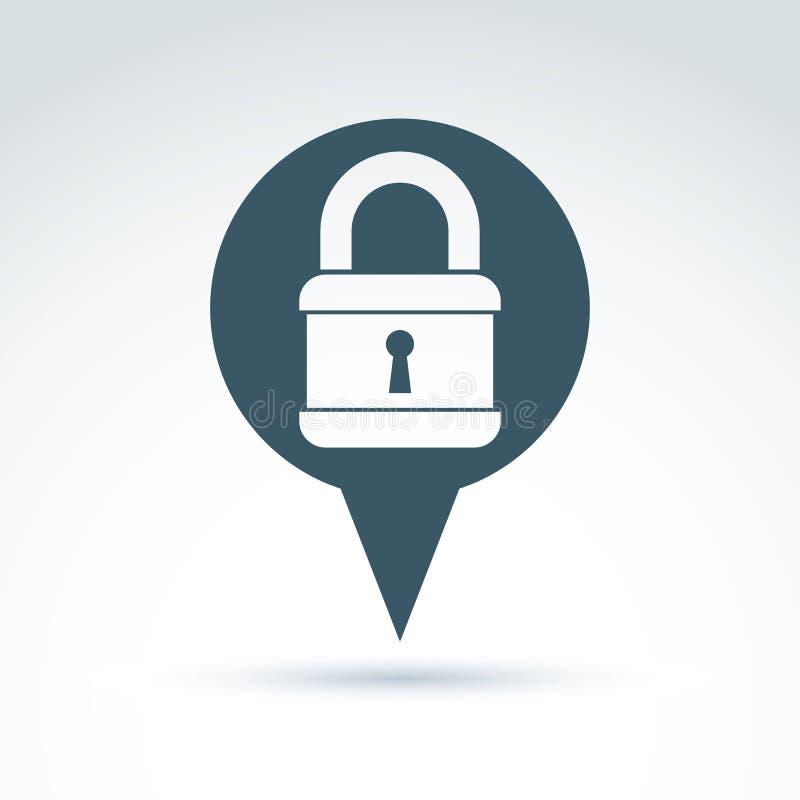 挂锁锁经典象,传染媒介概念性时髦的标志为 库存例证