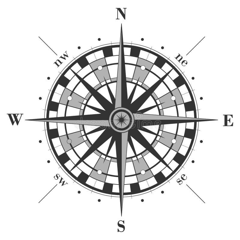 指南针例证查出玫瑰色向量白色 向量例证