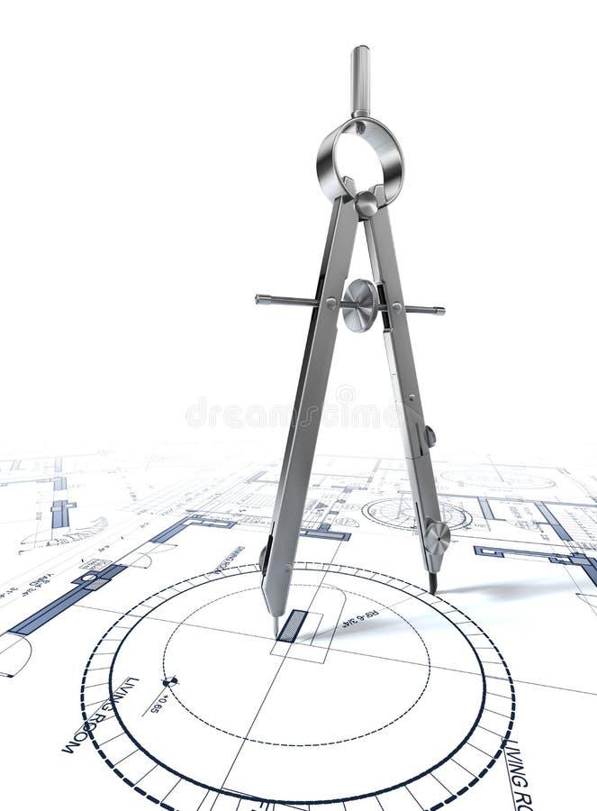 指南针在体系结构计划的图画圈子 皇族释放例证