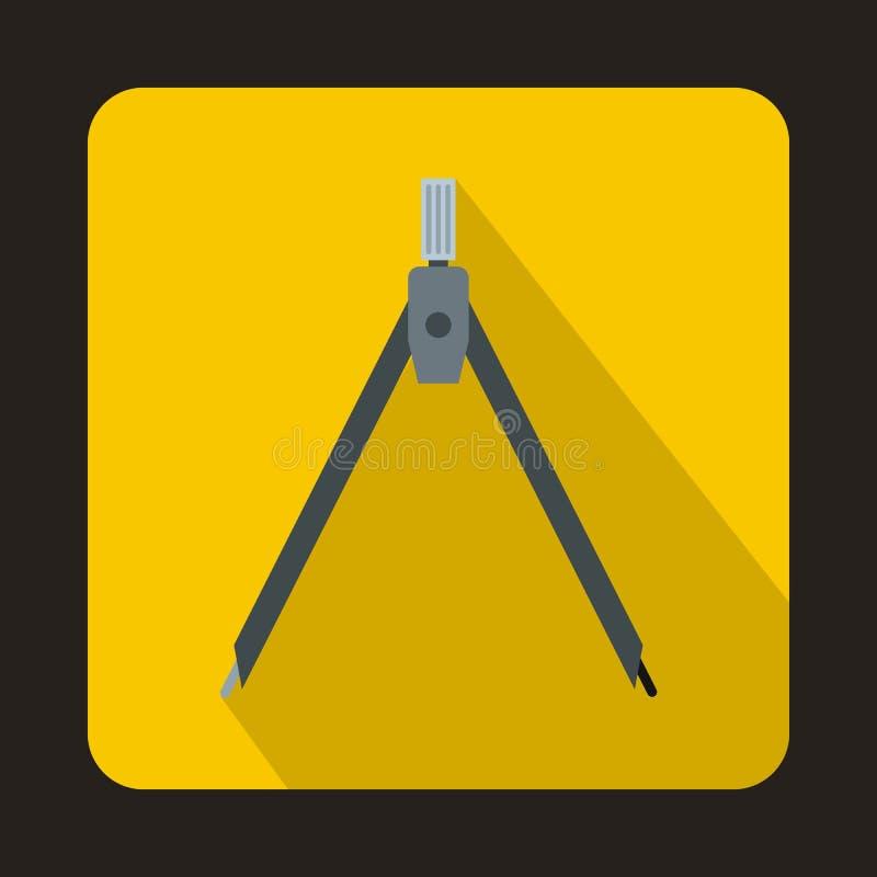 指南针在平的样式的工具象 库存例证