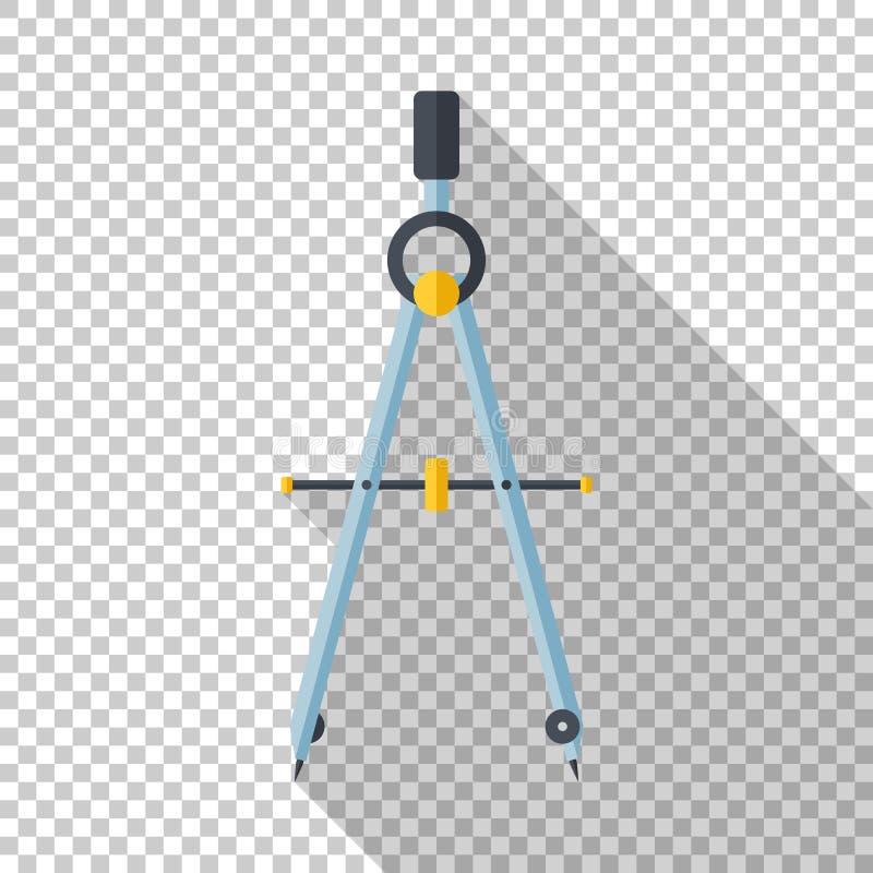 指南针在平的样式的绘图工具象在透明背景 库存例证