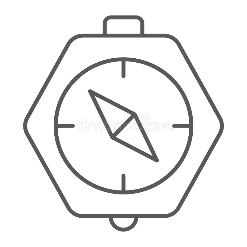 指南针稀薄的线象,地理和方向,航海标志,向量图形,在白色的一个线性样式 向量例证